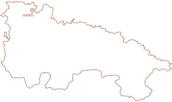 Mapa de La Rioja con Haro marcado